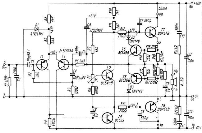 amplificador de  u00c1udio 100w com bdx66b e bdx67b
