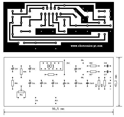placa de circuito impresso amplificador TDA 2005