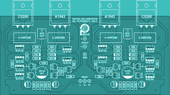 125W Audio Amplifier Top PCB