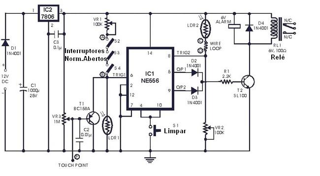 Alarm Circuit With 4 Sensors