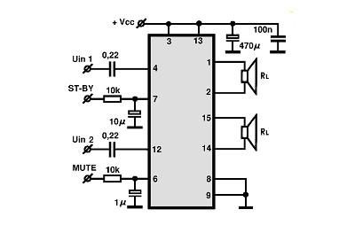 tda7266 s circuitos integrados para  u00e1udio  utiliza u00e7 u00e3o