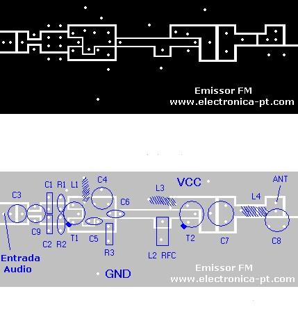 Placa circuito impresso de emissor de fm