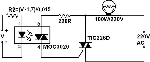 ligar luz controlada por um triac - esquemas