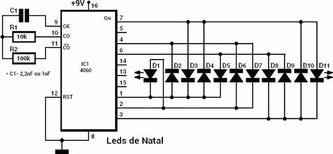 circuito iluminação de natal com leds