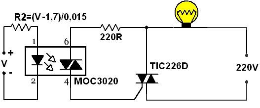 ligação triac saída do sequencial