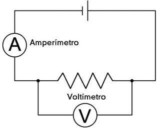 circuito com multimetro e voltimetro