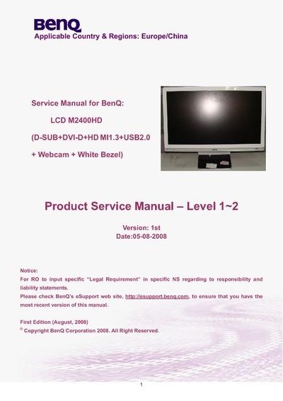Benq M2400hd Monitor Lcd  Service Manual  Repair Schematics
