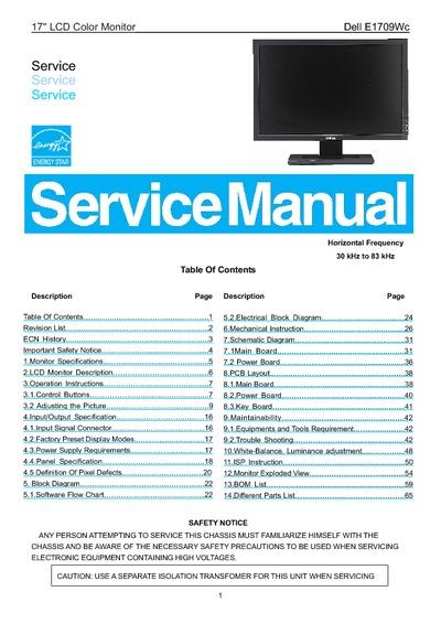 Dell E1709wc A03 Lcd Monitor  Service Manual  Repair
