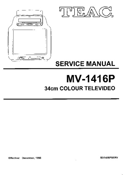 TEAC MV-1416P, Service Manual, Repair Schematics