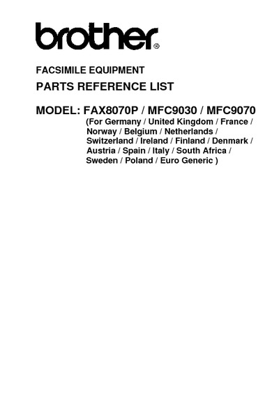 Brother MFC-8070, 9030, 9070 Parts Manual