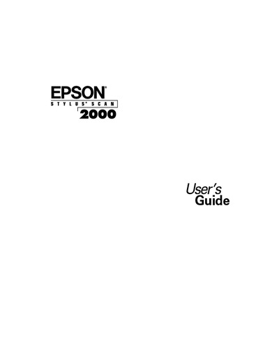 Epson Stylus Scan 2000 User U0026 39 S Guide  Service Manual