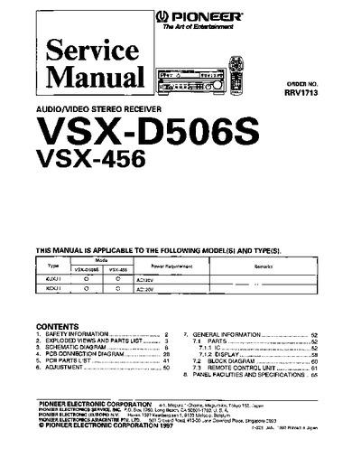 Martins Auto Repair >> Pioneer VSX456, VSX-D506S, Service Manual, Repair Schematics