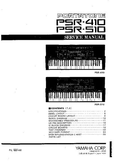 Yamaha psr 410 psr 510 service manual repair schematics for Yamaha psr 410 keyboard