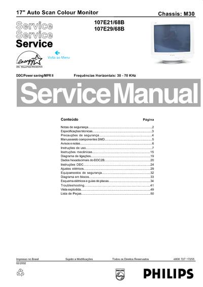 Philips 107e21  107e29 Monitor  Service Manual  Repair