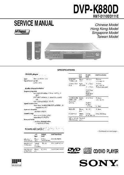 Sony Dvp-k880d  Cd Player  Service Manual  Repair