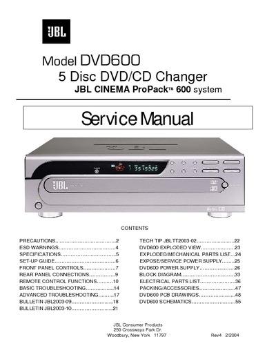 Jbl Dvd600  Cd Changer  Service Manual  Repair Schematics
