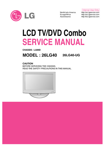 Lg 26lg40 Lcd Tv  Dvd Combo Chassis  La89d  Service Manual  Repair Schematics