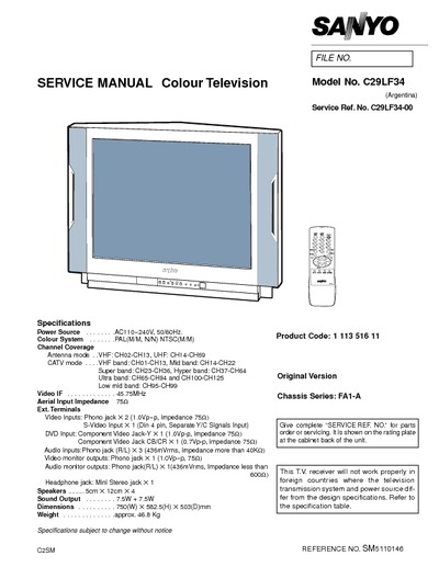 Sanyo TV, C29LF34, Chassis BA1-A
