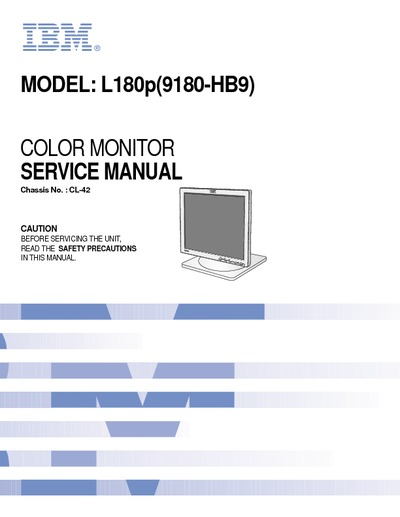 Ibm L180p Lcd Monitor  Service Manual  Repair Schematics