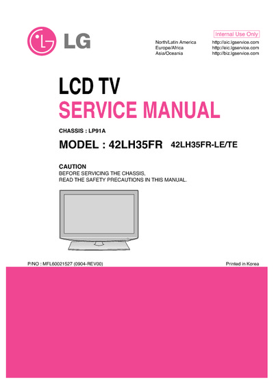 lg 42lh35fr chassis lp91a service manual repair schematics. Black Bedroom Furniture Sets. Home Design Ideas