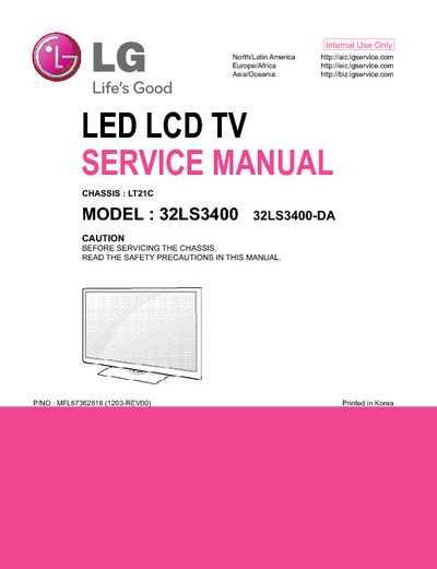 lg 32ls3400 da chassis lt21c service manual repair. Black Bedroom Furniture Sets. Home Design Ideas