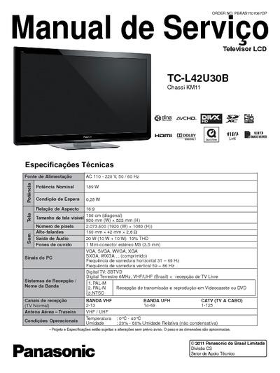 panasonic tc l42u30b manual de servi o service manual. Black Bedroom Furniture Sets. Home Design Ideas