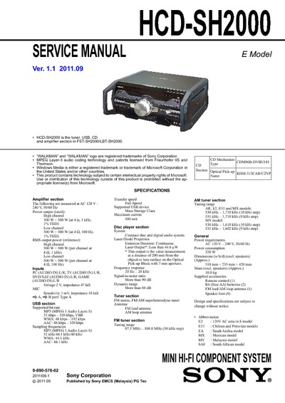 Hcd Sh2000  Service Manual  Repair Schematics