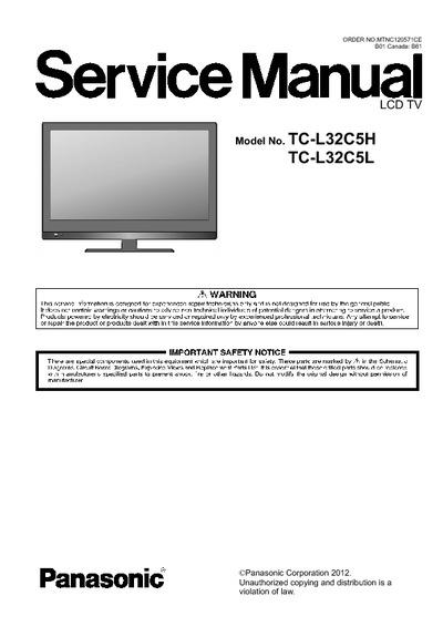 panasonic tc l32c5h lcd service manual repair schematics. Black Bedroom Furniture Sets. Home Design Ideas
