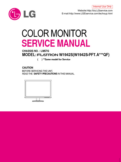 Lg W1942s Lcd Monitor  Service Manual  Repair Schematics