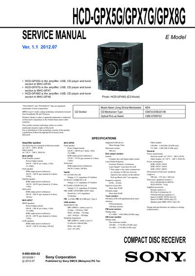 sony hcd gpx5g  gpx7g  gpx8g ver1 1  service manual  repair schematics sony mhcecl99bt manual sony mhc-bx2 manual