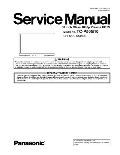 panasonic tc p50g10 chassis gpf12du service manual. Black Bedroom Furniture Sets. Home Design Ideas