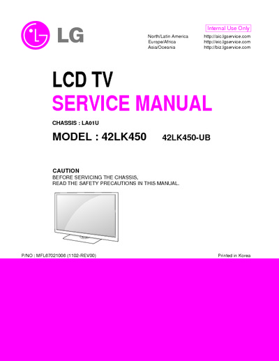 Lg Tv Repair >> LG 42LK450 Chassis LA01U LCD, Service Manual, Repair Schematics