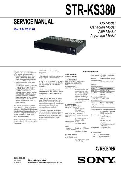 sony str ks380 service manual repair schematics rh electronica pt com sony av receiver str-ks380 manual Old Sony Receivers