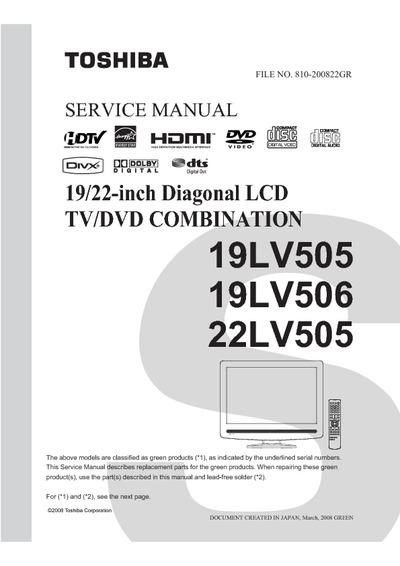Toshiba 19lv505  19lv506  22lv505 Lcd Tv Dvd  Service