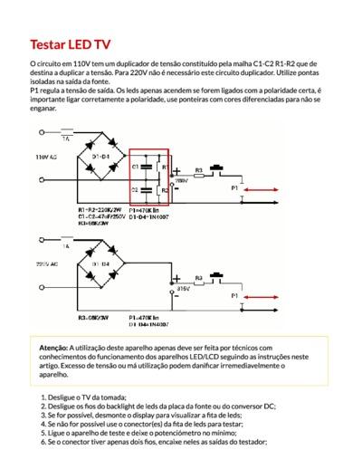 Testador De Barra De Leds Service Manual Repair Schematics