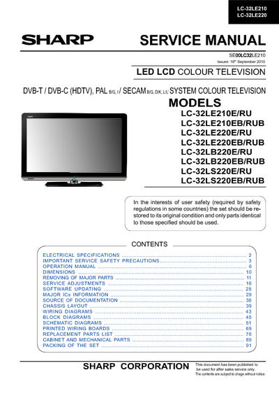 Lc 32x20e service manual