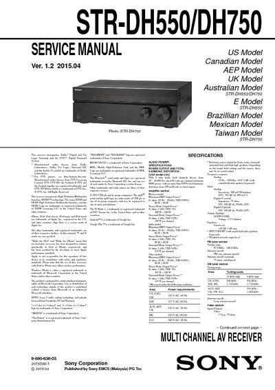 Sony Str Dh550 Str Dh750 Service Manual Repair Schematics