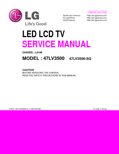 lg 47lv3500 sg chassis lj01m service manual repair. Black Bedroom Furniture Sets. Home Design Ideas
