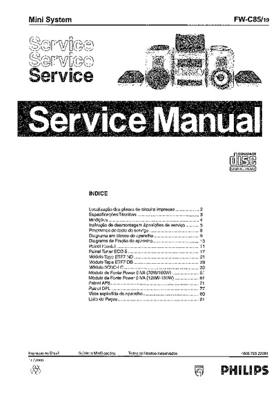 philips fw 19  service manual  repair schematics