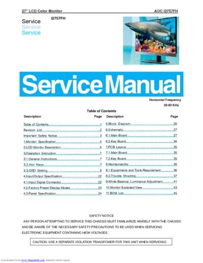Aoc I2757fh Lcd Monitor  Service Manual  Repair Schematics