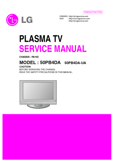 lg 50pb4da chassis pa75c service manual repair schematics. Black Bedroom Furniture Sets. Home Design Ideas
