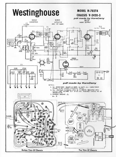 Westinghouse H782t4 12au6 12av6 50c5 35w4  Service Manual  Repair Schematics