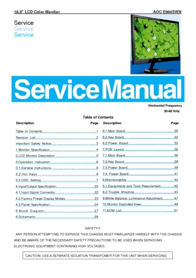 AOC E960SWN LCD Monitor Service Manual