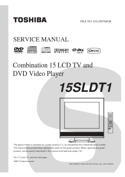 Toshiba 15sldt1  Service Manual  Repair Schematics