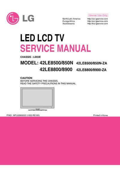 lg 42le8500 42le850n 42le8800 42le8900 ld03e service. Black Bedroom Furniture Sets. Home Design Ideas