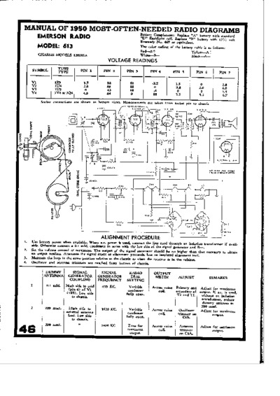 radio emerson 613  service manual  repair schematics