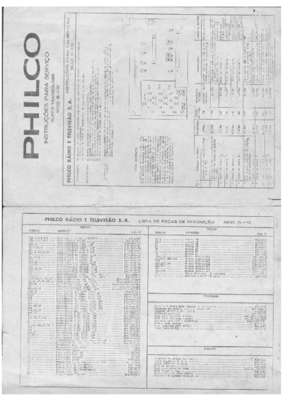 Philco Radio Transglobe B470, Service Manual, Repair Schematics