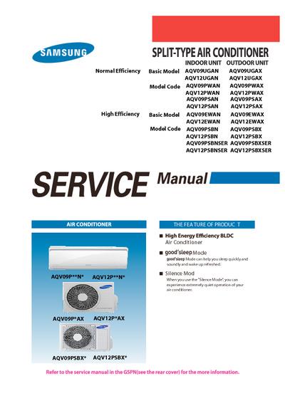 Auto Air Conditioner Repair >> Samsung AQV09 12 PSBN Service Manual, Service Manual, Repair Schematics