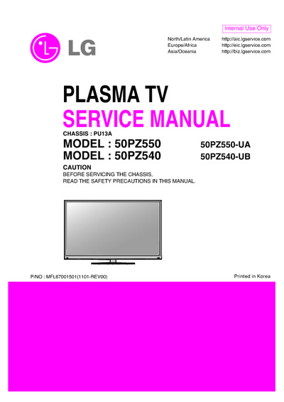lg 50pz550 ua 50pz540 ub chassis pu13a service manual. Black Bedroom Furniture Sets. Home Design Ideas