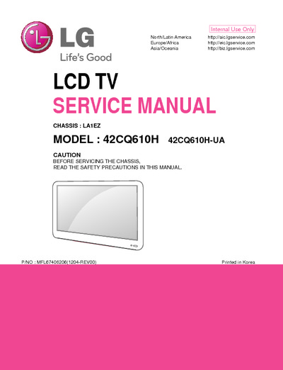 lg 42cq610h ua chassis la1ez service manual repair. Black Bedroom Furniture Sets. Home Design Ideas